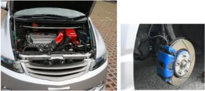 オデッセイ……16万km走っても快調なエンジン(左)、足回りは無限で統一(右)しています。